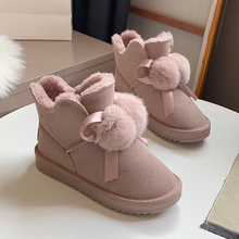 Pink Snow Boots Women 2019 New Winter Ankle Boots Platform Black Brown Suede Boots Cute Fluffy Boots Flat Heel Fur Women Shoes