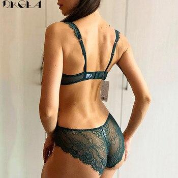 Comfortable Thin Cotton Brassiere Embroidery Bras Green Underwear Set Sexy D E Cup Plus Size Bra Set Women Lingerie Lace Black 2