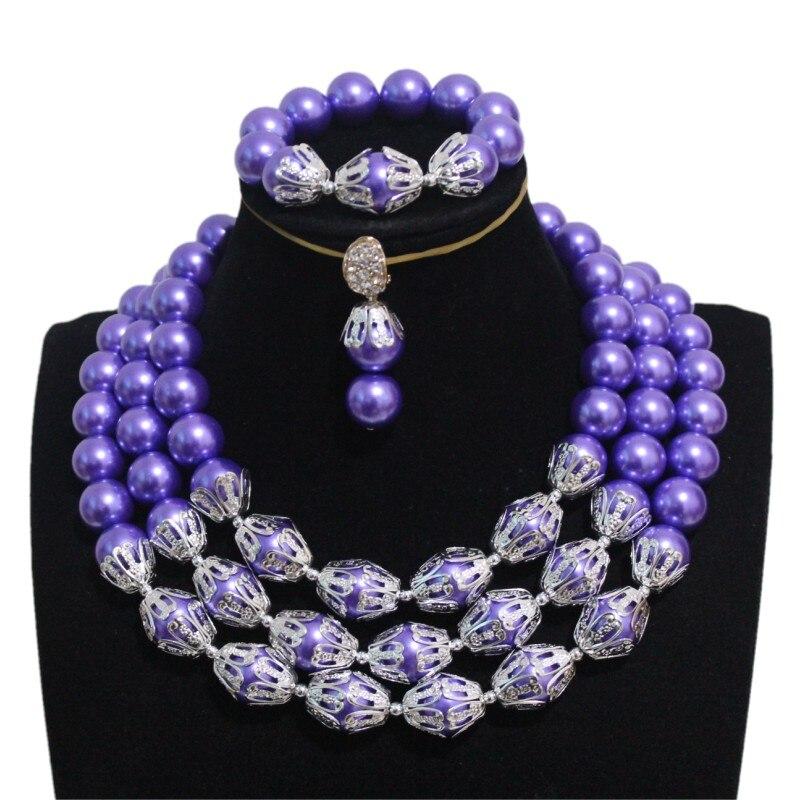 4 ubijoux perles de mariée ensemble de bijoux 3 couches violet et argent Dubai femmes ensemble de bijoux boucles d'oreilles Bracelet collier ensemble cadeau