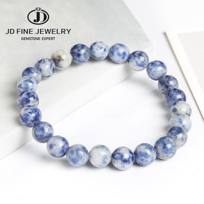 JD White Dot Blue-vein Sodalite Natural Stone Beads DIY Bracelet Women Men Jewelry Hand Made 7-7.5 Inches