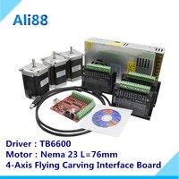 Router 3 Axis kit cnc : TB6600 stepper motor driver + Nema23 57HS7630A4 + mach3 4 axis interface board+power supply + USB line
