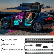 48 Светодиодный s приложение Управление автомобильный светильник TUYA Smart Life RGB светодиодный автомобильный линейный светильник s с двухпроводн...