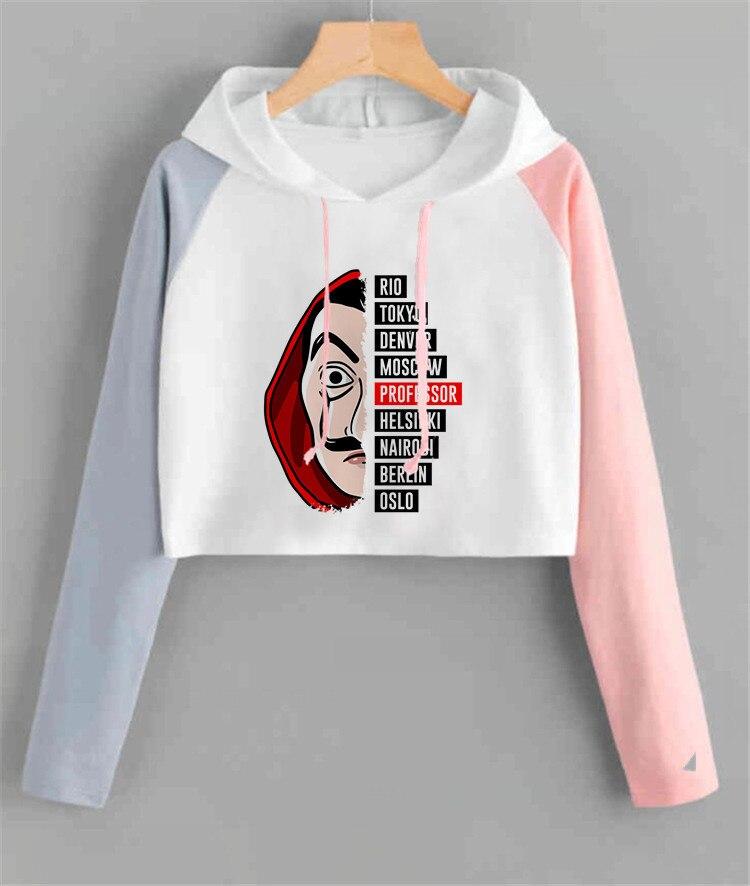 Money Heist Women Hoodie Harajuku La Casa De Papel House Of Paper Sweatshirt Funny Kpop Hood Oversized Color Matching Hoodie
