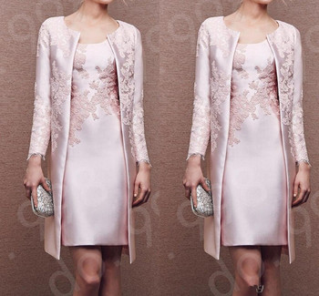 Pink Lace Mother Of The Bride Dresses 2020 Formal gown Outfit Coat Long Sleeve Jacket Above Knee Length Wedding Guest Dress