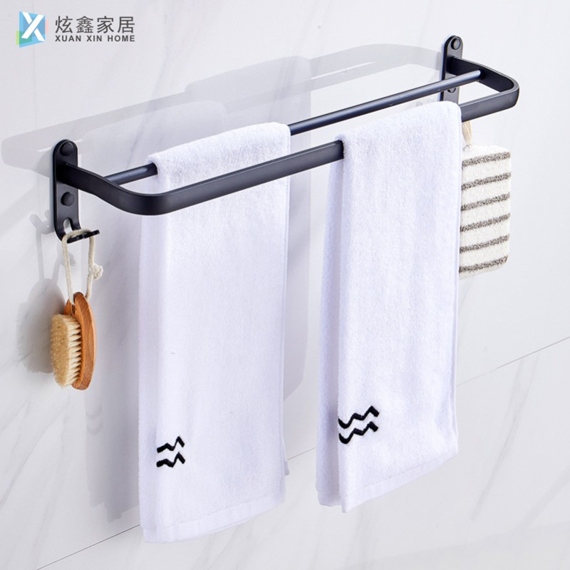 Space Aluminum Bathroom Towel Rack Wall Mounted Black Single Pole Double Pole With Hook Bathroom Towel Bar Bathroom Accessories