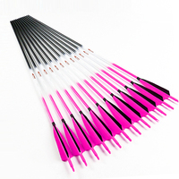 12pcs Archery Carbon Arrows Spine 300 340 400 500 600 30/32 Inch Recurve Bow Hunting Shooting