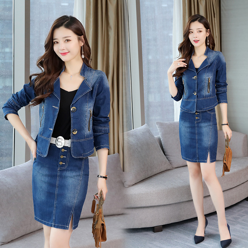 2019 Autumn New Style WOMEN'S Dress Korean-style Long Sleeve Jeans Coat Sheath Short Skirt Two-Piece Set Slim Fit Dress Outfit