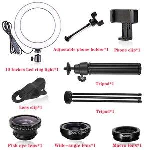 Image 5 - Orsda LED Ring Licht 10 Zoll Fotografie Dimmen ringlight Youtube 3500 5500k USB Stecker Selfie Ring Licht Mobile telefon Halterung