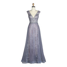 2019 Evening Dress Fashion Hot Sweet Purple Lace V-Neck Long Bride Party Sexy Backless Ball Custom