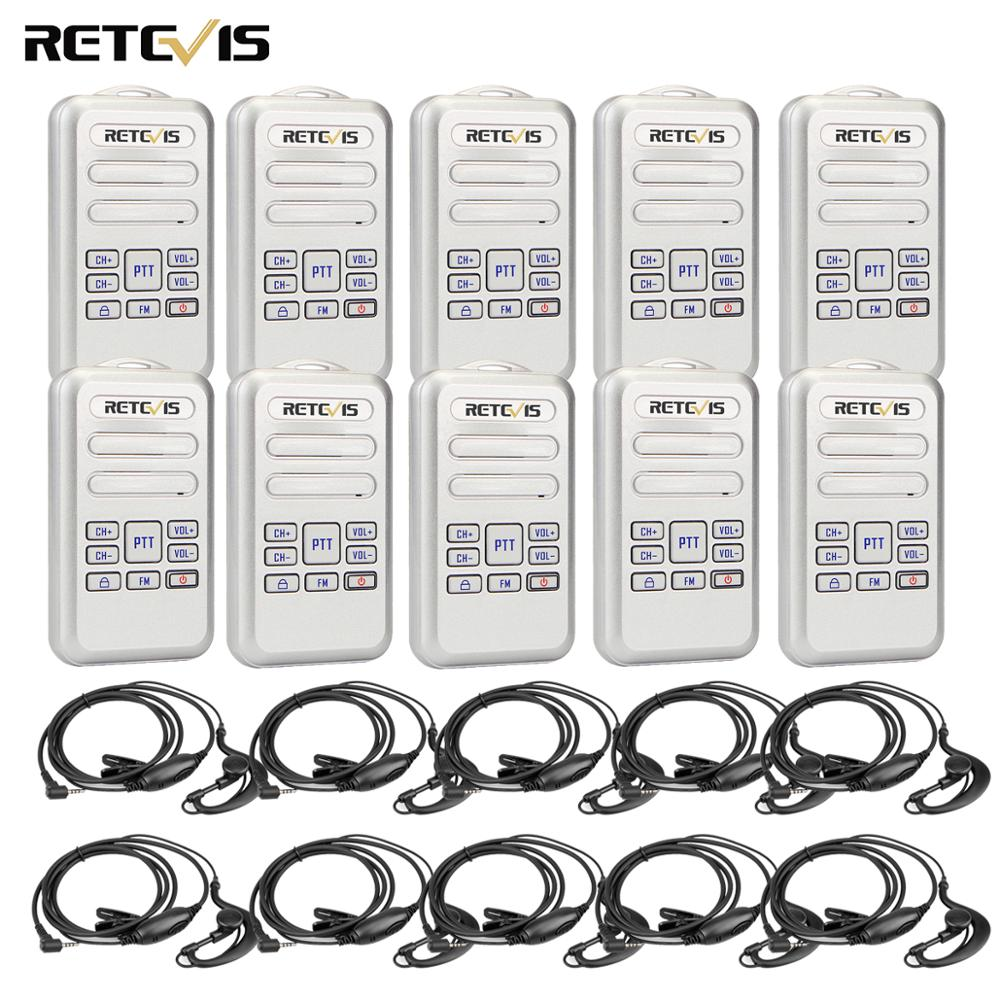 RETEVIS RT20 Mini Walkie-Talkie 2W UHF 400-470MHz FM 16CH 10PCS Business Two-way Radio Handheld Transceiver VOX TOT Comunicador