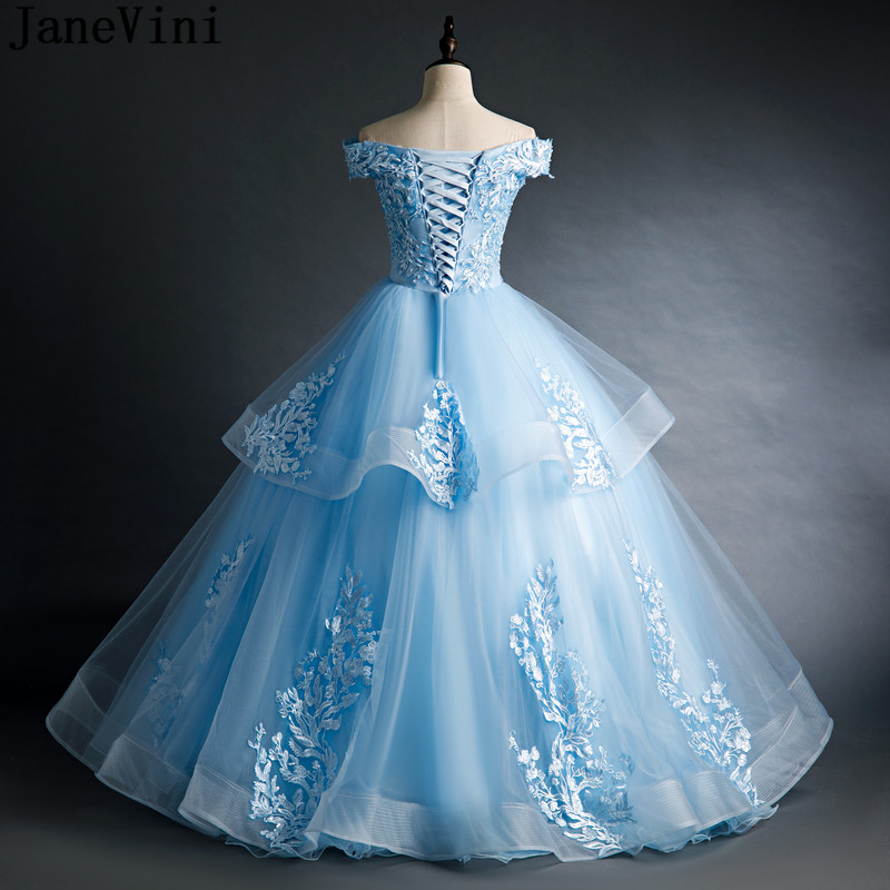 JaneVini Blue Pearls Quinceanera Dresses Ball Gown Formal Prom Gowns Lace Appliqued Off Shoulder Tiered Sweet 16 Dresses 2021