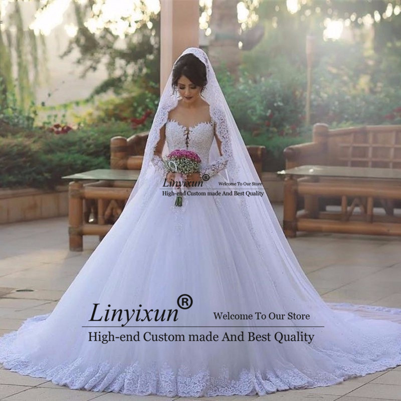 Lace White Wedding Dress Ball Gown Appliques Tulle Country Western
