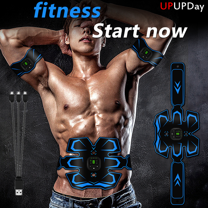 Luxury Muscle Stimulator Abs Trainer Belt Smart Abdomen Arm Exerciser EMS Fitness Gym AntiCellulite Slimming Stimulator Massager
