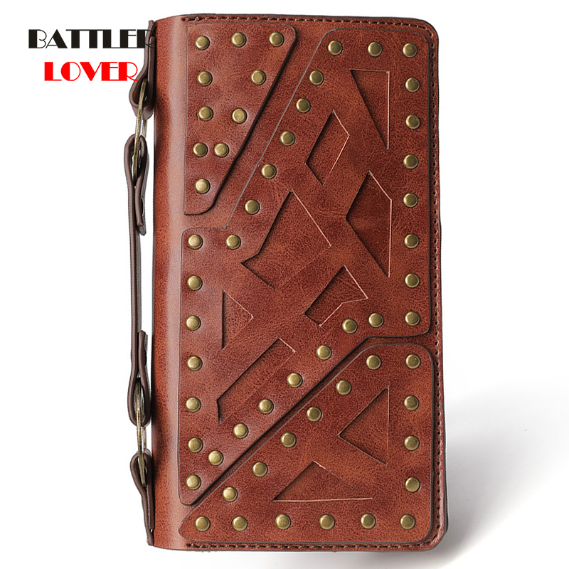 Steampunk Wallet Carving Long Large Capacity Double Zipper Purse Wallet Female Hand Clutch Bag Men