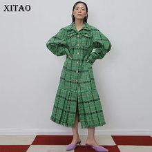 XITAO Irregular Pleated Burr Plus Size Trench Plaid Women Clothes 2019 Fashion C