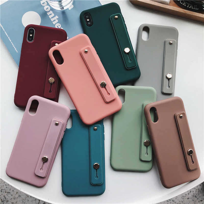 Custodia morbida in Silicone per iphone XR X Xs max 11 Pro Max custodia per iphone 7 8 6 6S Plus Cover posteriore per cinturino da polso