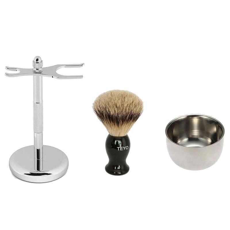 TEYO Silvertip Badger Hair Shaving Brush Set Include Shaving Stand Bowl Perfect for Wet Shave Beard Brush