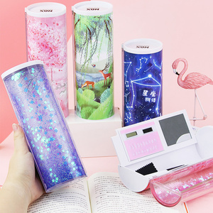 Image 2 - Trousse à crayons multifonctionnelle à sable, trousse avec calculatrice solaire, boîte à crayons pour stylos à miroir, papeterie trousse à crayons