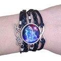 2021 двенадцать созвездий уникальный черный Многослойные ретро Античная кожаный браслет в стиле панк с драгоценными камнями женские вечерни...