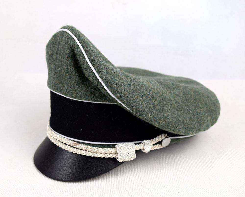 WW2 WWII GERMAN ELITE OFFICER HAT WOOL VISOR CRUSHER CAP YELLOW PIPE  L