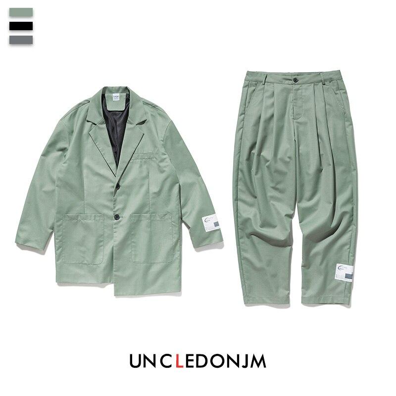 UNCLEDONJM 2 Pieces Men Set Hip Hop Man Set Mens Casual Blazer Oversized Men Blazer And Pants Overlong Design Men Suits A45/A46
