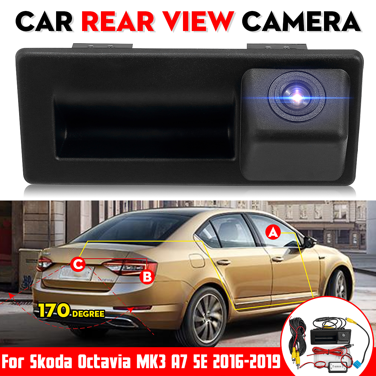 Rear Trunk Tailgate Back Door Handle Rear View Backup Camera HD For Skoda Octavia MK3 A7 5E  2016 2017 2018 Superb 3