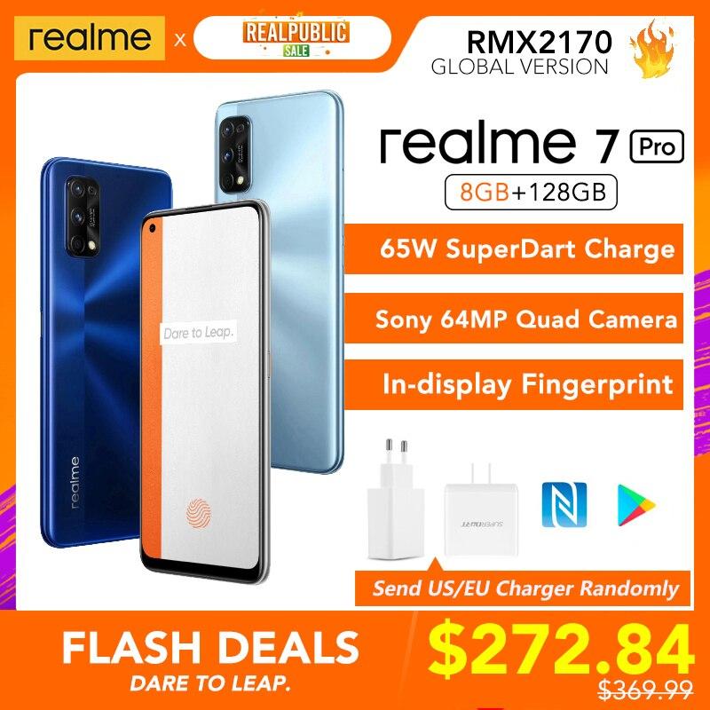 Realme 7 Pro 8 Гб Оперативная память 128 Гб Встроенная память глобальная Версия 65 Вт SuperDart заряда 64MP Камера активно-матричные осид-дисплеем, определ...