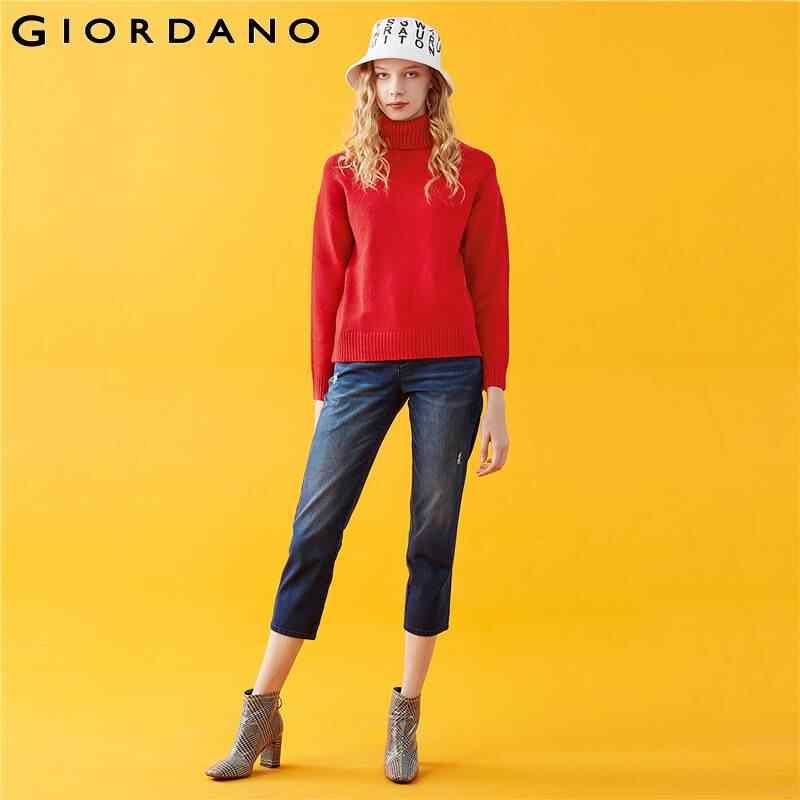 지오다노 여성용 스웨터 솔리드 터틀넥 풀오버 5 바늘 뜨개질 내구성 blusa de frio feminina 05359857