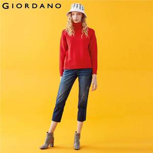 Giordano Frauen Pullover Solide Rollkragen Pullover 5 Nadel Stricken Durable Blusa De Frio Feminina 05359857
