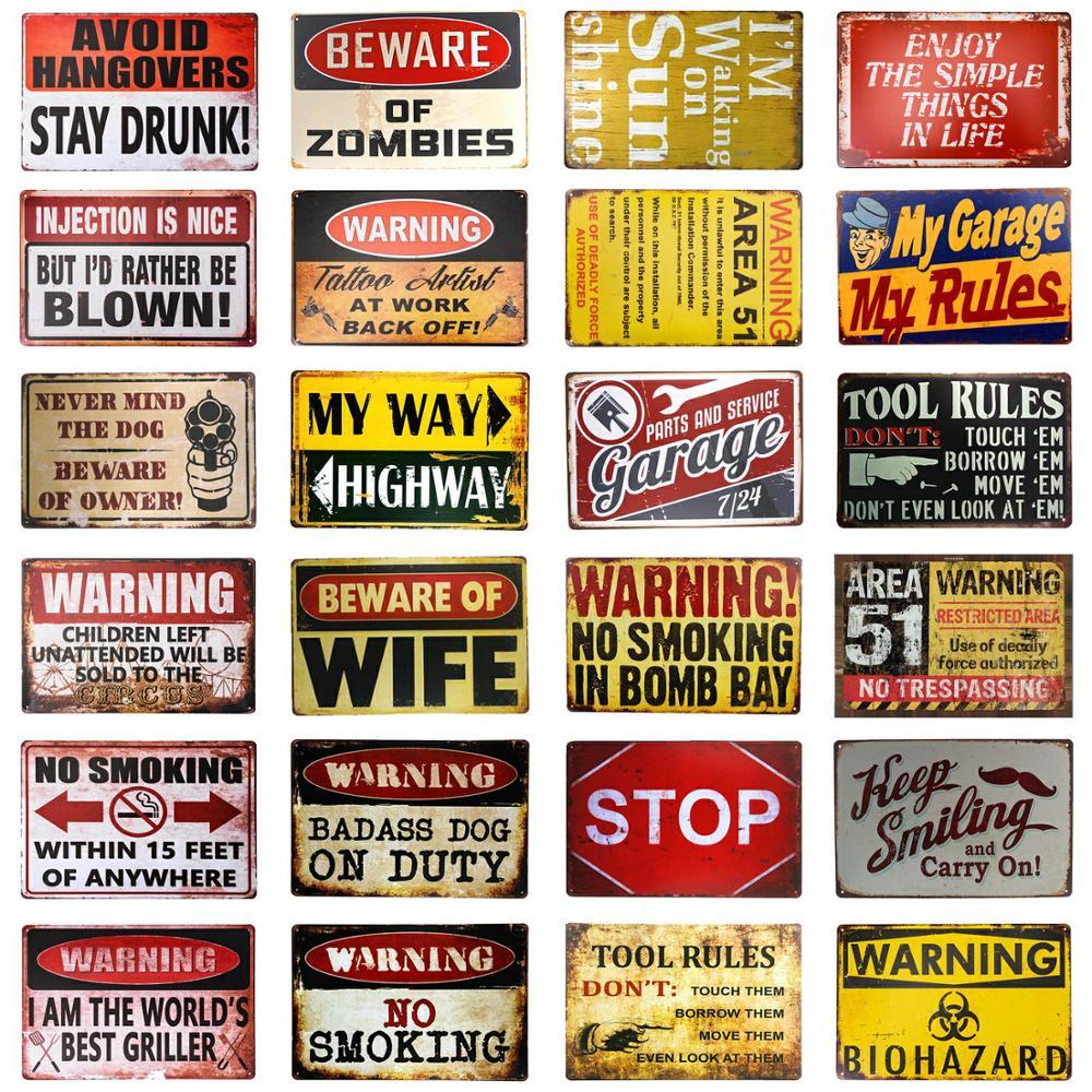 Be ware of road sign vintage metal sign bar posters garage decor man cave sign