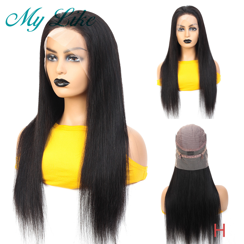 Wig Lace-Frontal Human-Hair 360 Brazilian Straight for Black Women 150-% 180%Density title=
