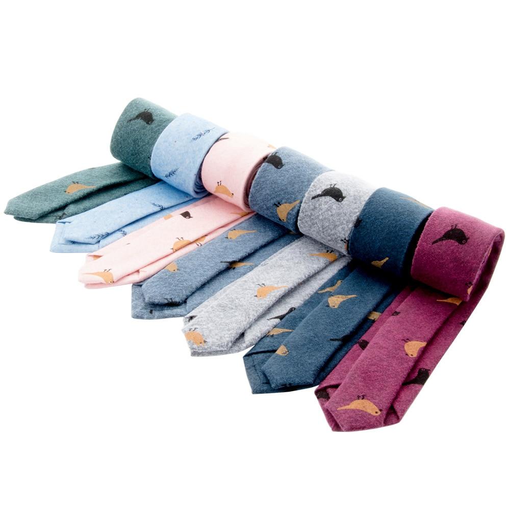 Man Cotton Tie Cravat Neckwear for Winter Men Party Tie Bird Printed Neckties
