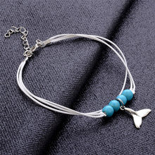 Adjustable Fish Tail Shaped Blue Beads Anklet For Women Boho Charms Silver Color Beach Bracelet Ankle Foot Jewelry Gift(China)