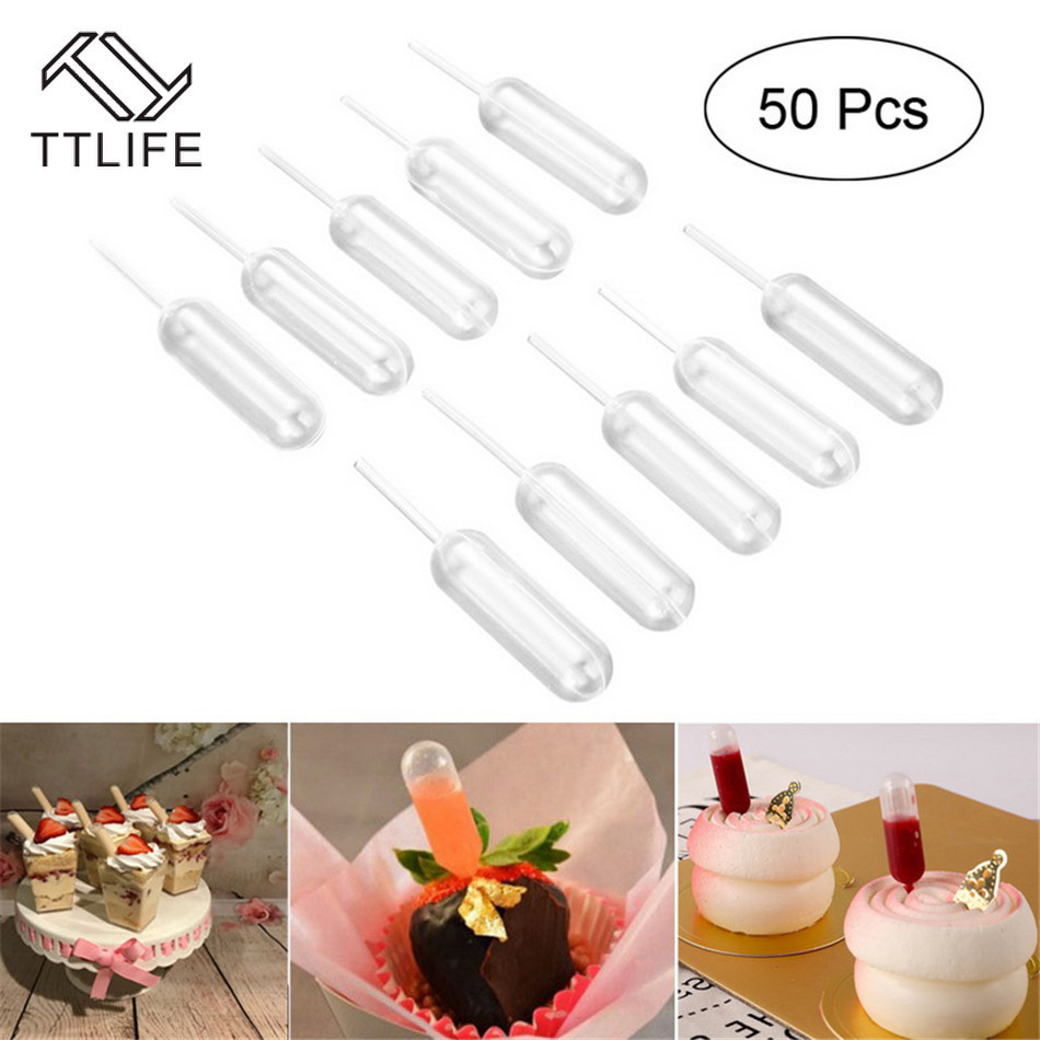 50pcs/lot 4ml Plastic Extrusion Pipette Dropper Disposable Pipette Strawberry Flow Cake Ice Cream Chocolate Kitchen Baking Tools