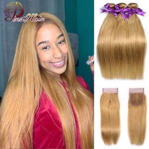 Image 2 - Miód blond wiązki z zamknięciem peruwiańskie proste włosy Ombre 3 wiązki z zamknięciem 1B 30 ludzkie włosy wyplata Pinshair Remy włosy