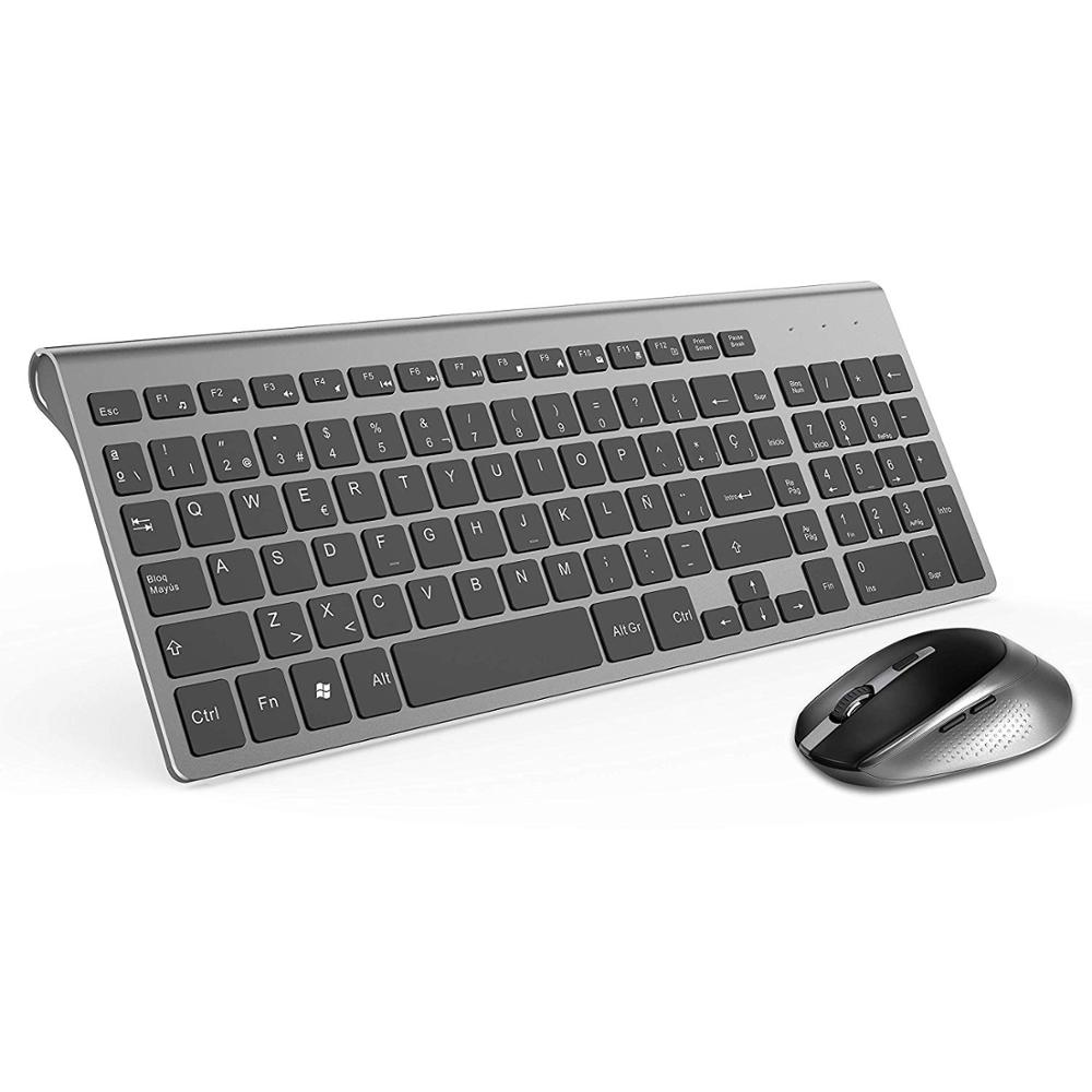 EDTO Wireless USB 2.4GHZ Keyboard and Mouse Slim Combo Set for PC Gaming Computer US Black