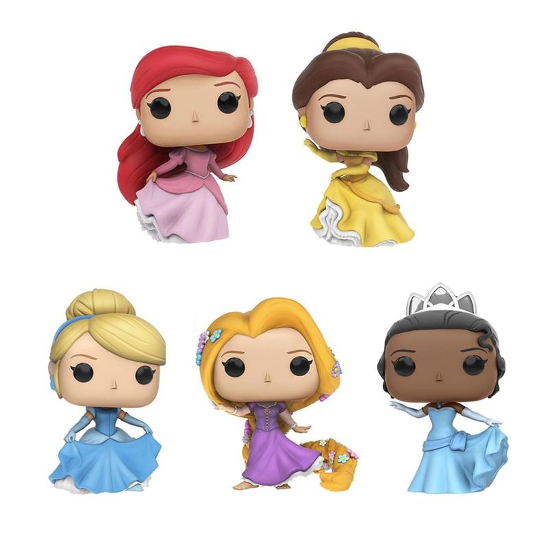 Princess Beauty And The Beast Belle Ariel Rapunzel Cinderella Tiana Action Figures Snow Queen Elsa PVC Model Collection Gift