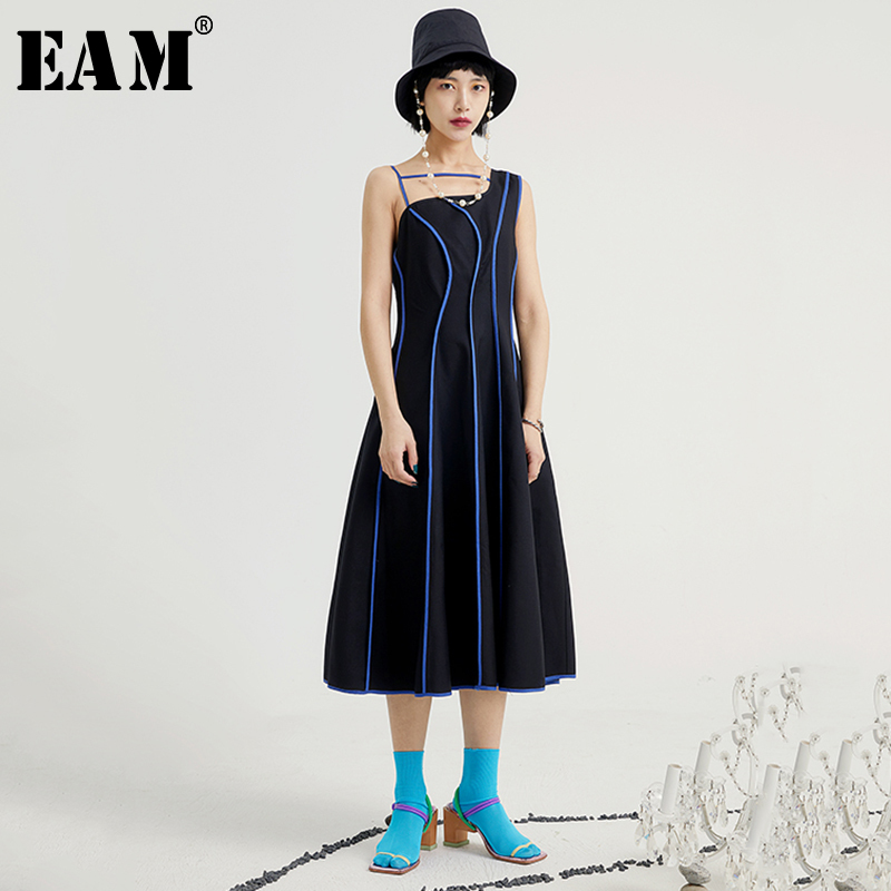 [EAM] Women Black Striped Irregular Dress New Asymmetrical Collar Sleeveless Loose Fit Fashion Tide Spring Summer 2020 1U612