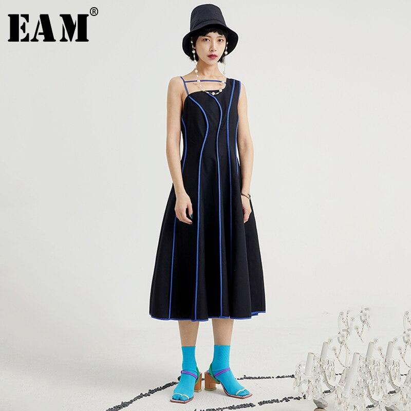 [EAM] Women Black Striped Irregular Dress New Asymmetrical Collar Sleeveless Loose Fit Fashion Tide Spring Summer 2020 1U612