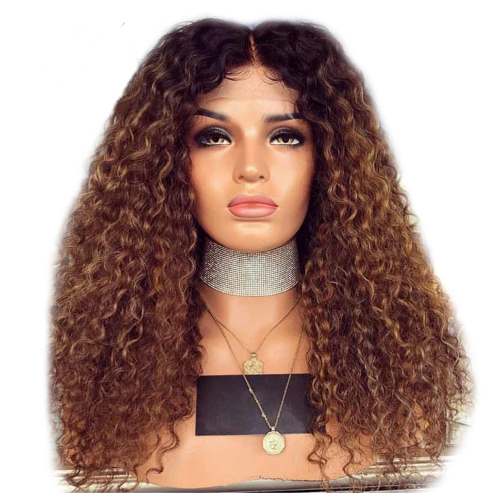 Eversilky 13x4 Curly Human Hair Wig With Baby Hair Pre Plucked Lace Front Wigs Remy Brazilian Wigs Glueless Brown Ombre Wig