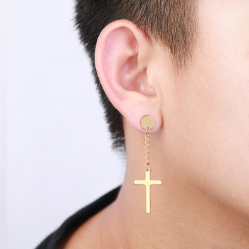 1PC Cross Pendant Earrings Women Men Black Punk Cartilage Drop Dangle Earring Personality Street Rock Earrings Jewelry Gifts image