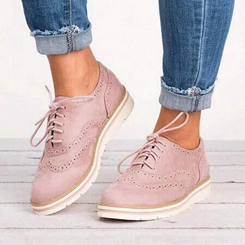 CYSINCOS Non-slip Sneakers Women Leather Platform Shoes Casual Flats Cut-Outs Flat Plus Size 35-43