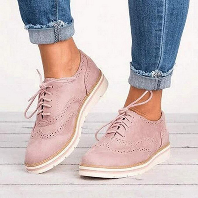 CYSINCOS Non-slip Sneakers Women Leather Platform Shoes Women Casual Shoes Flats Leather Shoes Cut-Outs Flat Plus Size 35-43