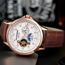 2020 GUANQIN שעונים עסקים למעלה מותג יוקרה אוטומטי עמיד למים מכאני Tourbillon שלד נירוסטה relogio masculino