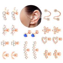 Ear Tragus Conch Studs Piercing Helix Opal Crystal Lip Labret Plug Steel Daith Earring Nose Piercing Cartilage Jewelry Rings 16g(China)