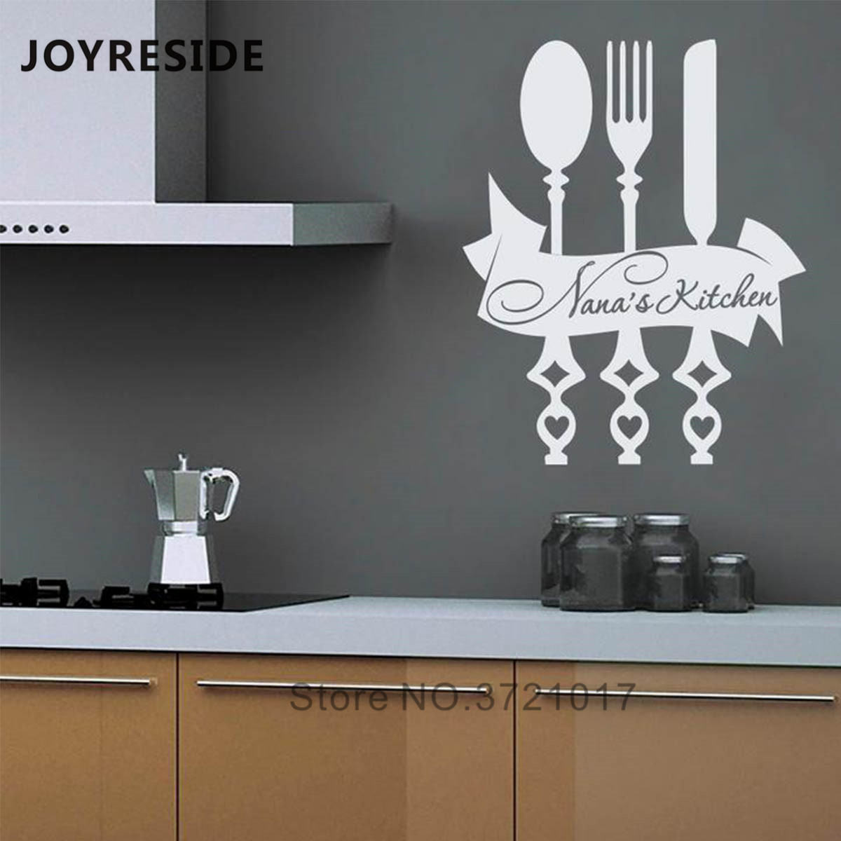 Joyreside Personalized Name Kitchen Wall Decals Fork Knife Kitchen Wall Decal Home Modern Decor Custom Name Vinyl Sticker Wm300 Wall Stickers Aliexpress