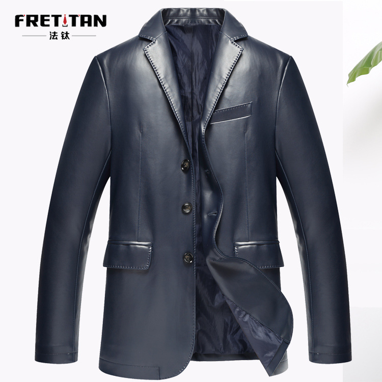 Korean-style New Style Locomotive Leather Coat Men's Small Suit Fold-down Collar Slim Fit PU Leather Jacket Men's