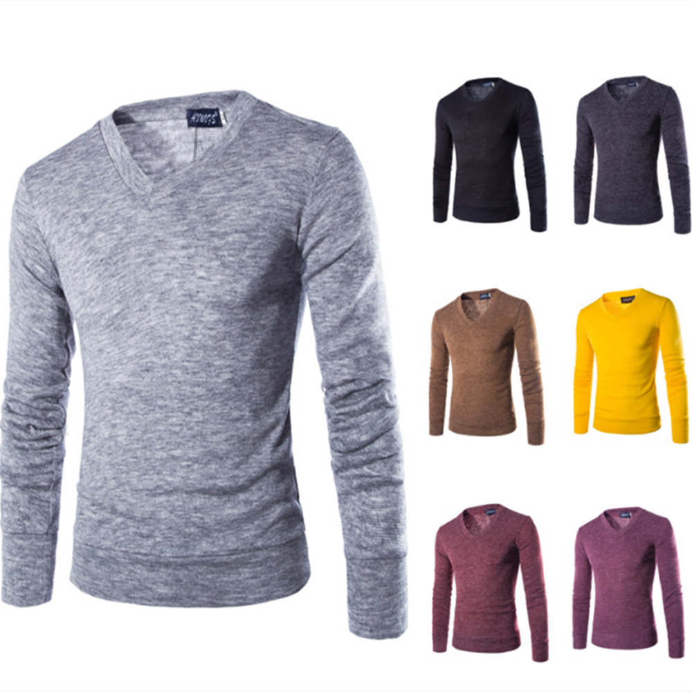 Fashion Men Sweater Spring Autumn Long Sleeve VNeck Knitted Shirt For Male Casual Soft Solid Color Men Clothes Slim Fit Pullover