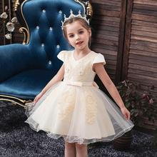 NEW baby wedding dress kids girl party for Wedding presiding Short sleeve Bud pearl princess