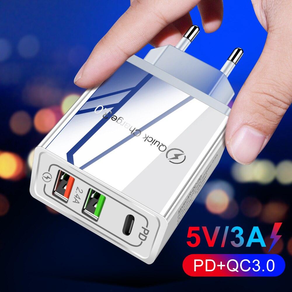 Быстрая зарядка 3,0 PD Зарядное устройство USB универсальный 30 Вт Кабель с разъемом USB типа C для быстрой зарядки адаптер питания для iPhone 12 8 Plus Xiaomi телефон iPAD